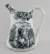 A POTTERY TRANSFER JUG COMMEMORATING THE CRIMEAN WAR attributed to Ynysmeudwy, of lobed form, having