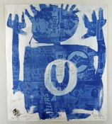 NEALE HOWELLS handmade cyanotype print with homemade negatives and pencil - entitled 'New Variant