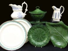 GROUP OF 19TH CENTURY SWANSEA POTTERY IN THE WEDGWOOD STYLE comprising Glamorgan green glazed leaf-