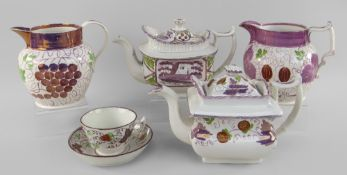 GROUP OF FIVE GLAMORGAN POTTERY PINK LUSTRE WARES comprising teapot decorated with strawberries,