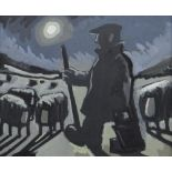 KARL DAVIES oil on canvas - entitled verso on Albany Gallery label 'Farmer and Sheep', signed