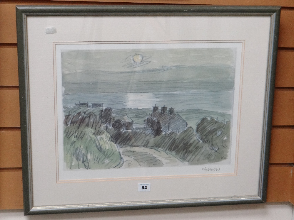 SIR KYFFIN WILLIAMS RA print - sunset coastal scene North Wales with roadside cottages, signed in - Image 2 of 2