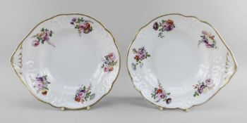 A PAIR OF NANTGARW PORCELAIN SHELL HANDLED DISHES of lobed form, having moulded handle and borders