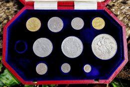 CASED EDWARD VII 1902 SPECIMEN COIN SET comprising ten coins including gold sovereign, half