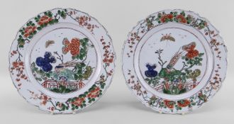 PAIR CHINESE FAMILLE VERTE PORCELAIN PLATES, Kangxi, centres decorated with golden pheasants on