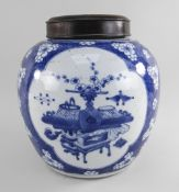 CHINESE BLUE & WHITE PORCELAIN '100 ANTIQUES' HAWTHORN JAR, 19th Century, painted in the Kangxi
