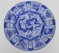 LARGE DUTCH DELFT 'KRAAK' STYLE BLUE & WHITE CHARGER, c. 1700, painted in the Chinese style with two