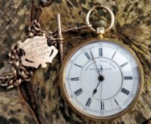18CT GOLD OPEN FACED CHRONOGRAPH POCKET WATCH by Thomas Russell & Son, Liverpool, the enamel dial