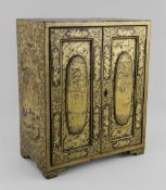 19TH CENTURY CHINESE BLACK & GOLD LACQUER TABLE CABINET, decorated all over with figure in