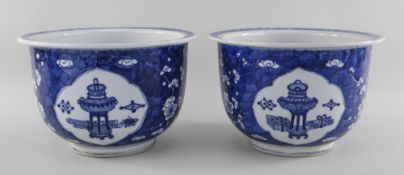 PAIR CHINESE BLUE & WHITE PORCELAIN '100 ANTIQUES' HAWTHORN JARDINIERES, 19th Century, painted in