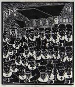 JOHN NDEVASIA MUAFANGEJO (Namibian, 1943-1987) limited edition (28/150) linocut - Evangelical
