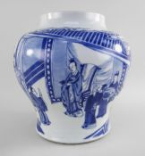 CHINESE BLUE & WHITE 'AUDIENCE' BALUSTER JAR, Kangxi, well painted in shades of blue with an