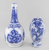TWO CHINESE BLUE & WHITE PORCELAIN VASES, 18th/19th Century, comprising a Kangxi period slender
