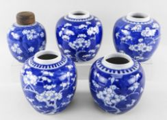 GROUP OF CHINESE BLUE & WHITE PORCELAIN HAWTHORN JARS, Qing Dynasty and later, all decorated with