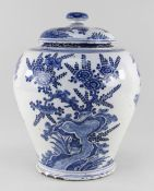 DUTCH DELFT BLUE & WHITE JAR AND COVER, De Drie Posteleyne Astonne c. 1700, painted in the Chinese