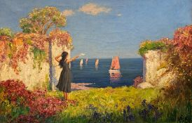 CECIL MENDELSSOHN ROUND (fl. 1884-1926) oil on canvas - Greeting in Sicily, signed and dated 1920,