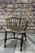 19TH CENTURY ELM & ASH WINDSOR CHAIR, pierced splat and spindle back, bowed arms, saddle seat,