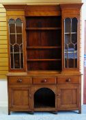 VICTORIAN OAK WELSH DRESSER, angled cornice above boarded back with shelved flanked by glazed