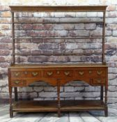 18TH CENTURY WELSH OAK HIGH DRESSER, probably Swansea Valley, open delft rack with wrought iron