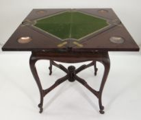 EDWARDIAN MAHOGANY ENVELOPE CARD TABLE, baize interior with gilt tooled leather border, copper