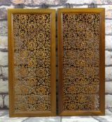 PAIR CHINESE ELM RETICULATED PANELS, decorated with stylised dragon roundels, metal hanging