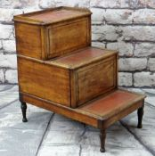 19TH CENTURY MAHOGANY METAMORPHIC BED STEPS/COMMODE, rosewood and boxwood strung panels and later