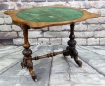 MID-VICTORIAN BURR WALNUT FOLDOVER CARD TABLE, the serpentine top internally inlaid in velvet, on