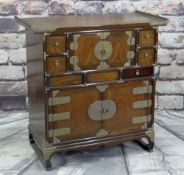 CHINESE or KOREAN ELM CABINET, with brass mounts, 80cms wide Condition Report: one drawer