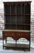 18TH CENTURY OAK DRESSER, boarded delft rack above potboard base, fitted two frieze drawers, 135 x