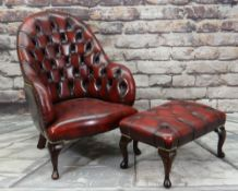 VICTORIAN-STYLE LEATHER SPOON BACK LIBRARY CHAIR & STOOL, red button upholstered and close nailed,