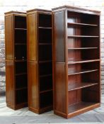 SET OF THREE CHINESE HARDWOOD TALL BOOKCASES, removable shelves, 101 x 37 x 198cms (3)