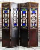 CHINESE SOFTWOOD & GLASS FOUR-LEAF SCREEN, top panels with carved pomegranate branches, above