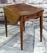 GEORGE III MAHOGANY PEMBROKE TABLE, moulded oval drop flap top, end drawer, tapering square legs, 76