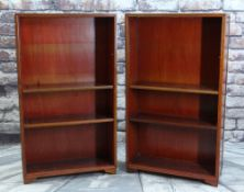 PAIR OF CHINESE HARDWOOD SMALL BOOKCASES, adjustable shelves, bracket feet, 76 x 27 x 132cms (2)