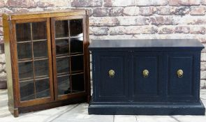 EARLY 20TH CENTURY OAK BOOKCASE & PAINTED CABINET, bookcase with glazed doors and reeded uprights,