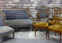 LATE VICTORIAN WALNUT & AMBOYNA MARQUETRY SALON SUITE, comprising settee, ladies and gentleman's