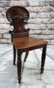 GEORGE IV GILLOWS-STYLE MAHOGANY HALL CHAIR, scallop shell moulded back above C-scrolls, boar's head