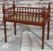 CHINESE SOFTWOOD COT or CRIB, with rattan woven base, 92 x 60cms