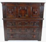 CHARLES II OAK GEOMETRIC TWO-PART CHEST, dentil incised frieze above deep panelled drawer on a