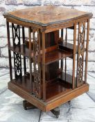 EDWARDIAN ROSEWOOD MARQUETRY REVOLVING BOOKCASE, shaped top with checkered edge, open shelves with