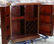 CHINESE HARDWOOD COCKTAIL CABINET, folding top and doors with fitted interior, 182 x 48 x 110cms(