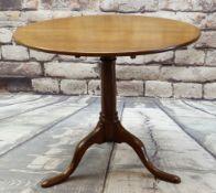 GEORGE III MAHOGANY TRIPOD TABLE, circular tilt-top on gun barrel column, splayed feet, 80cms