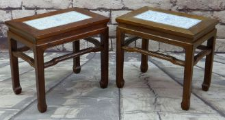PAIR CHINESE ELM & PORCELAIN INSET TOP OCCASIONAL TABLES, 55 x 37cms (2)