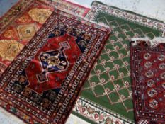 ASSORTED ORIENTAL RUGS, including small Caucasian medallion rug with multiple borders, 161 x 102cms;