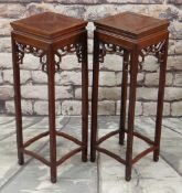 PAIR OF CHINESE HARDWOOD TALL SQUARE VASE STANDS, with fretwork friezes, 30 x 30 x 92cms (2)