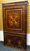 GOOD 19TH CENTURY DUTCH MARQUETRY WARDROBE stepped cornice above a single door with swivel mirror,