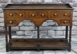 18TH CENTURY WELSH OAK DRESSER BASE, probably Swansea Valley, boarded top with shoes for rack,