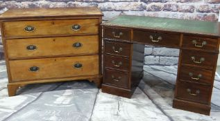 LATE GEORGE III MAHOGANY CHEST & GEORGIAN-STYLE PEDESTAL DESK, chest fitted with three long drawers,