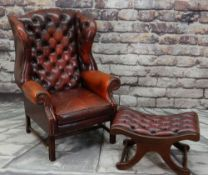 GEORGE III-STYLE MAHOGANY & LEATHER WINGBACK ARMCHAIR, red button upholstered back, square