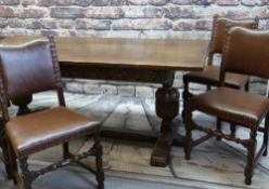 MATCHED ELIZABETHAN-STYLE CARVED OK DINING SUITE, comprising refectory table 183 x 83cms, six